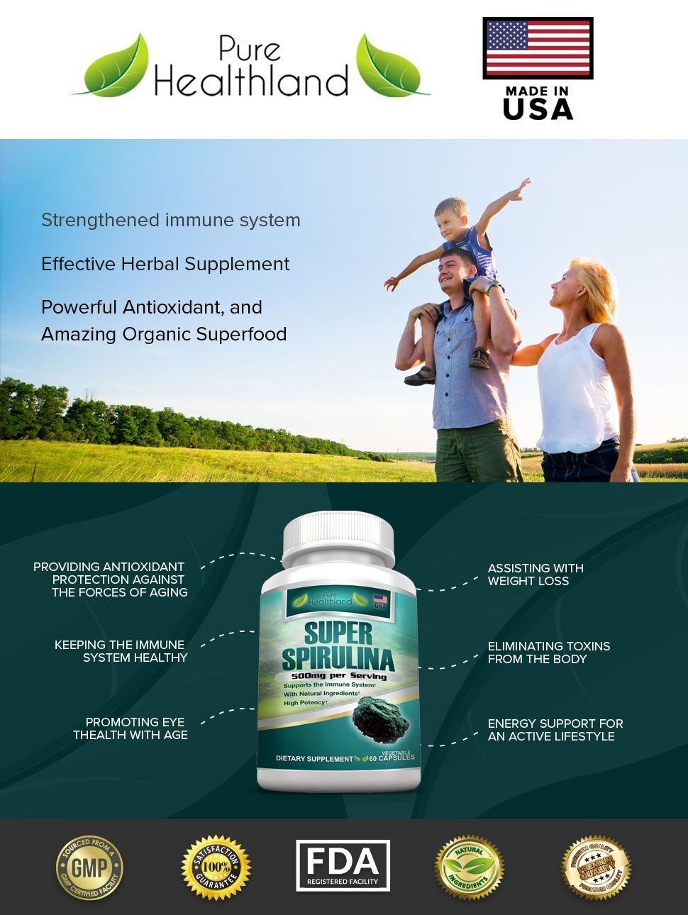 AMAZING SUPERFOOD SPIRULINA (Earthrise) SUPPLEMENT PILLS. Powerful Antioxidant Easy-To-Swallow 500mg Vegetable Capsules. Best Support for Eye Health, Weight Loss, Increased Energy, & Natural Detox