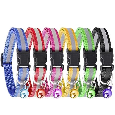 KeNeer - Collar de gato con campana ajustable, reflectante, fluorescente, diseño sencillo y