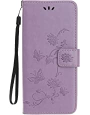 Reevermap Samsung Galaxy A20E Case Flip Cover PU Leather Wallet Lotus Butterfly Embossed Magnet Closure Card Slot Holder Stand Silicone Bumper Shockproof Case for Samsung Galaxy A20E Light Purple