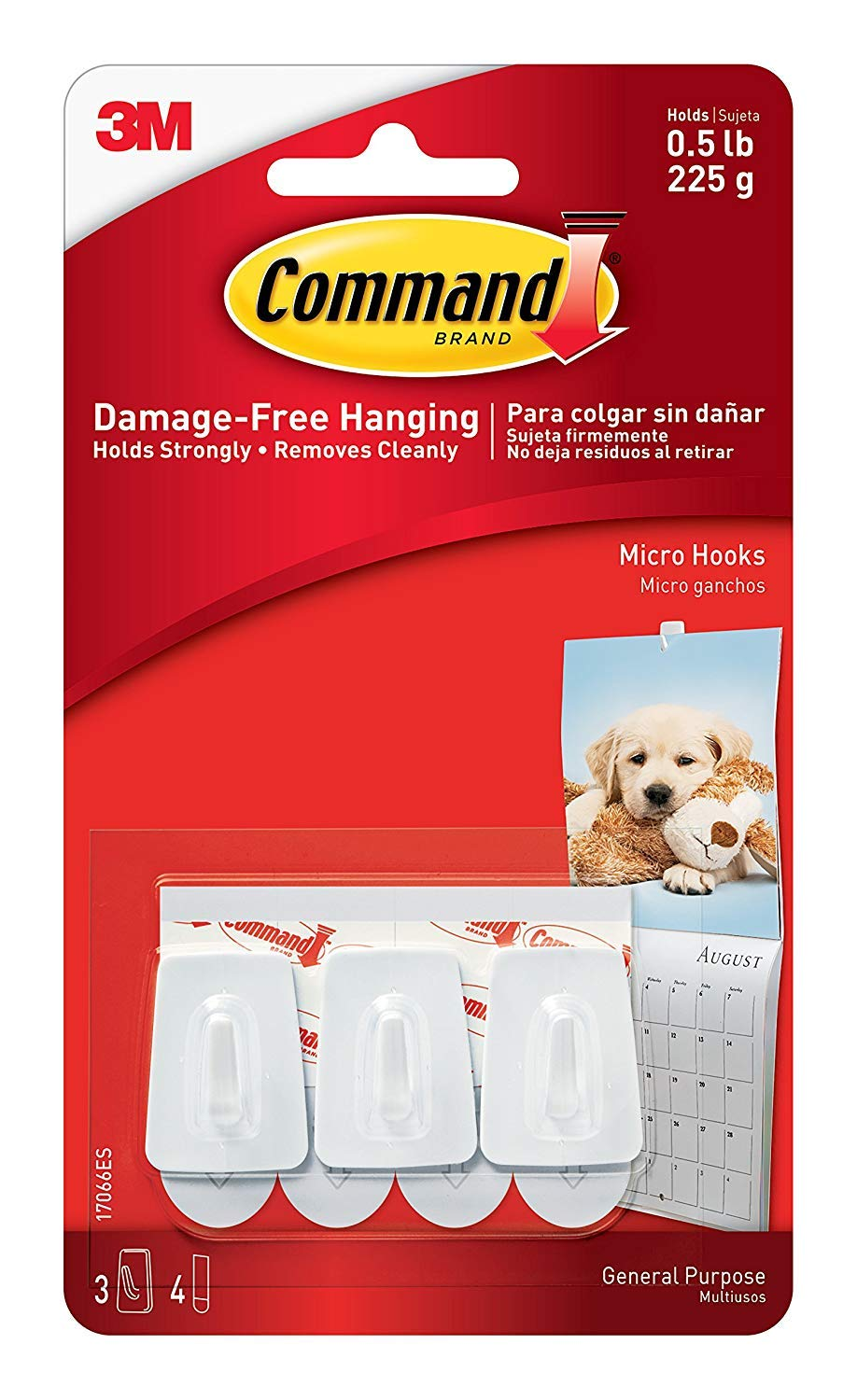 3XMicro Hooks Adhesive Strips (1 Pack of 3 Hooks) Command