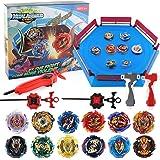JIMI Bey Battling Top Stadium Blade Battle Set, 12 Burst Spinning Tops 3 Launchers Grip 1 Arena Combat Game, Toy Gift for Kid