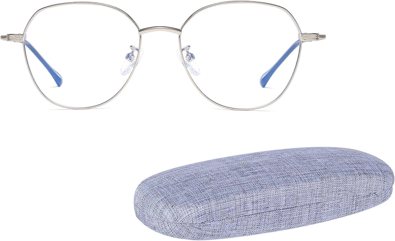 Redondas Metal Gafas Anti Luz Azul Ordenador Antireflejos Anti-UV Anti-Fatiga Gafas Gaming para Pantallas de Ordenador, Móvil, Tableta, Televisor, y Fundas