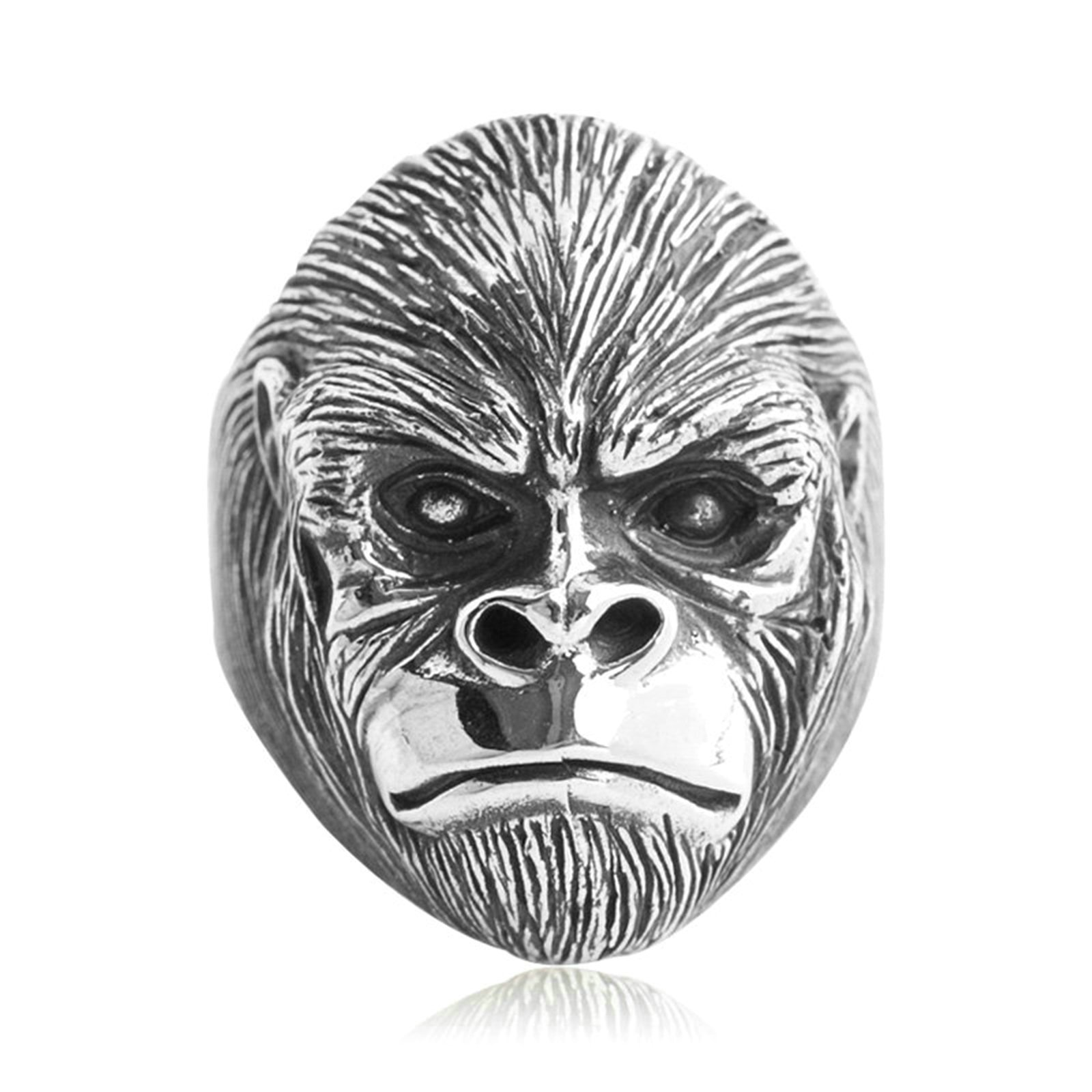 Epinki 925 Sterling Silver Punk Rock Vintage Gothic Gorilla Ring for Men Size 9.5 by Epinki