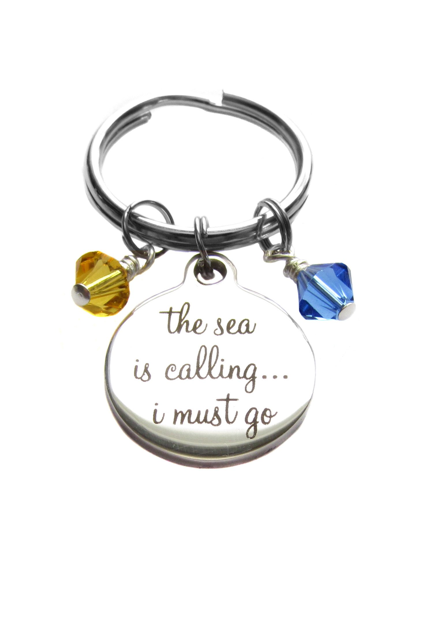 Stainless Steel ''The Sea is Calling I Must Go'' Quote Swarovski Crystals Keychain