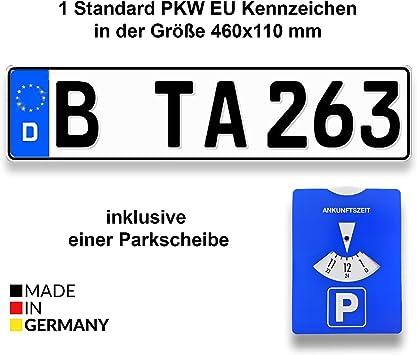 Matrícula estándar alemana para coche de TA TradeArea, de 460 x 110 mm, con disco horario de aparcamiento incluido - Amazon.es