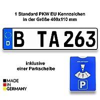 TA TradeArea 1 Standard PKW EU Kennzeichen in der Größe 460x110 mm Inklusive Einer Parkscheibe
