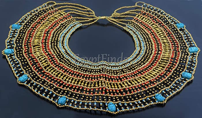 Marvellous Large Egyptian Black And Blue  Mummy bead Cleopatra Collar Necklace