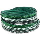 Bracelet Slake Wrap Cristal Strass Brillant double tour en cuir de daim grisvert