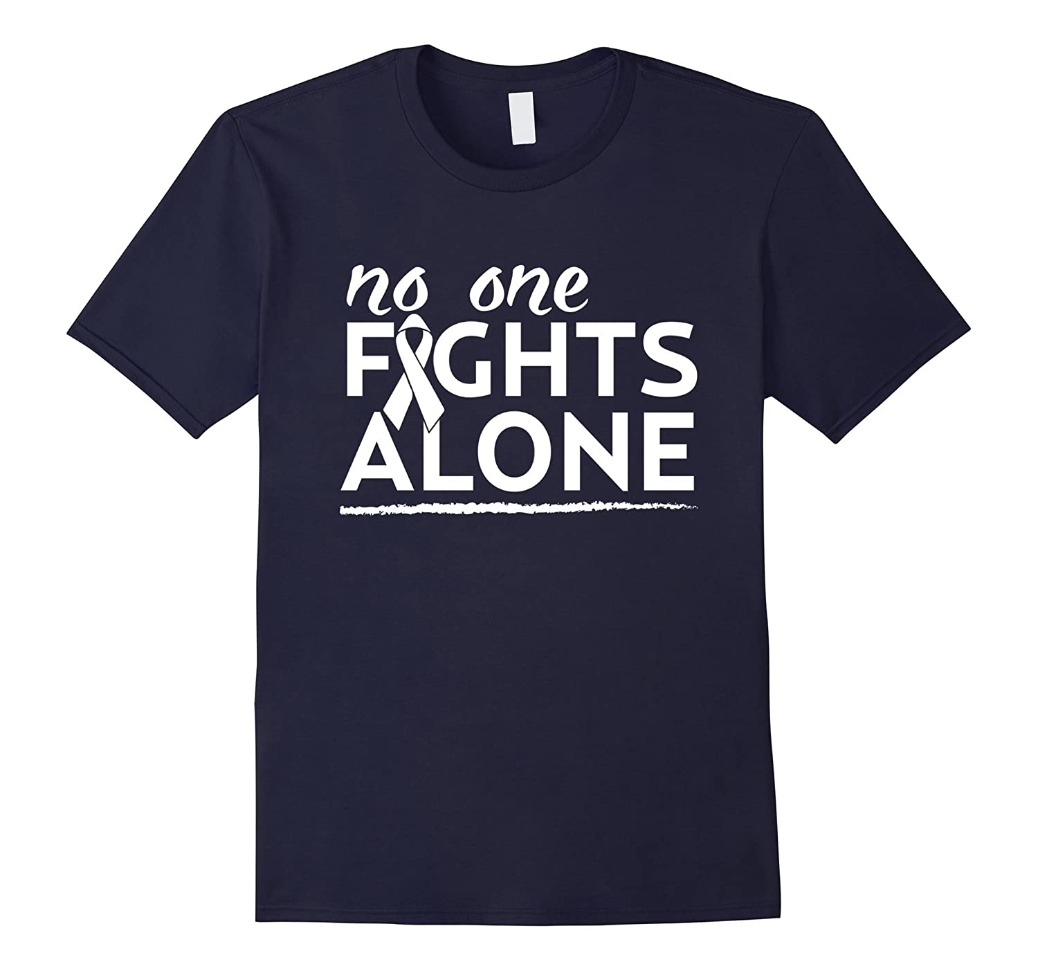 No One Fights Alone Beat Lung Cancer Pride Awareness T-Shirt-RT