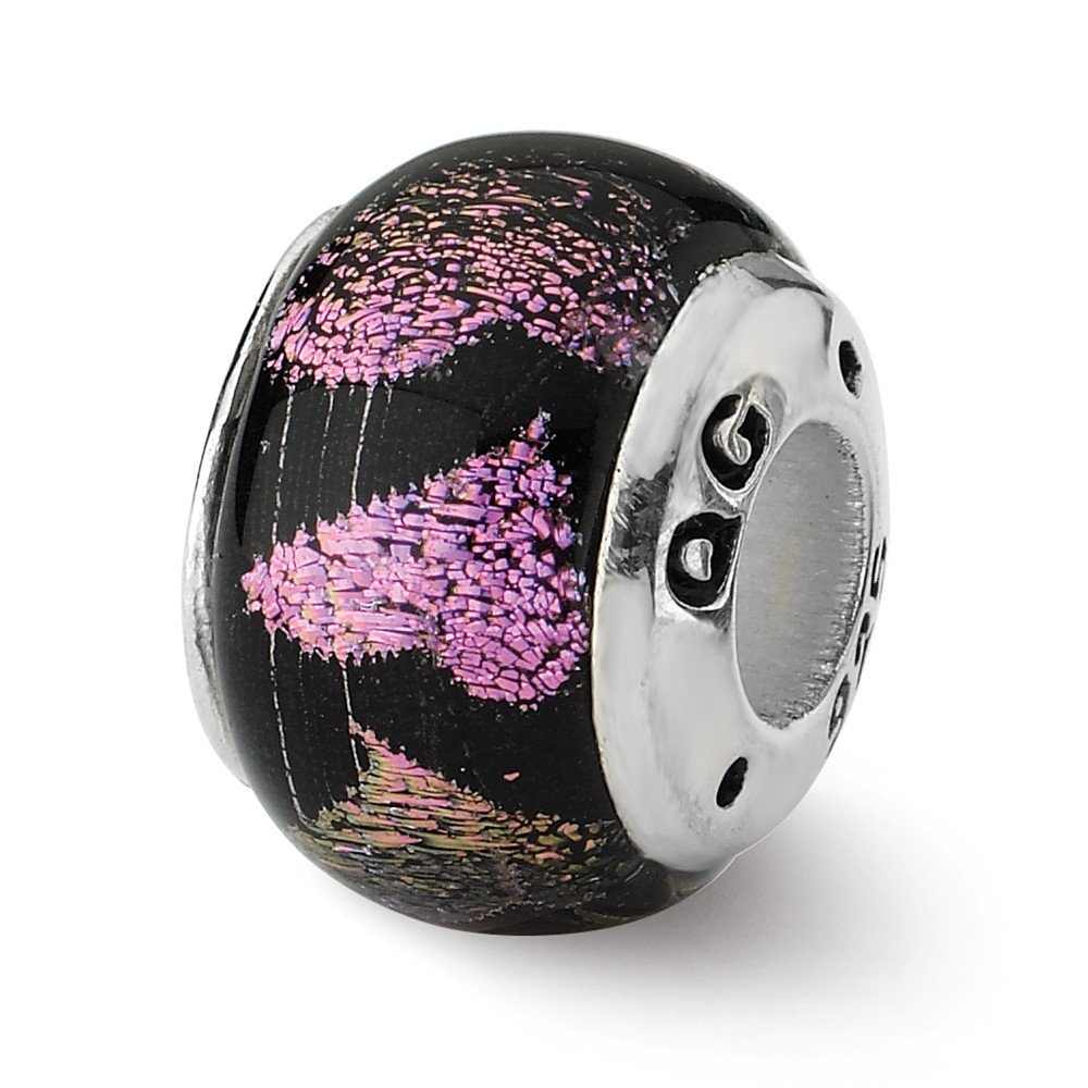 Sterling Silver Reflections Pink/Purple Hearts Dichroic Bead by Jewelry Pot