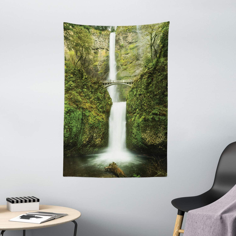 "Ambesonne Hobbits Tapestry, Falls of Rivendell Multnomah Waterfall Oregon with Hobbit Elf Path Bridge Scene Image, Wall Hanging for Bedroom Living Room Dorm Decor, 40"" X 60"", Green"