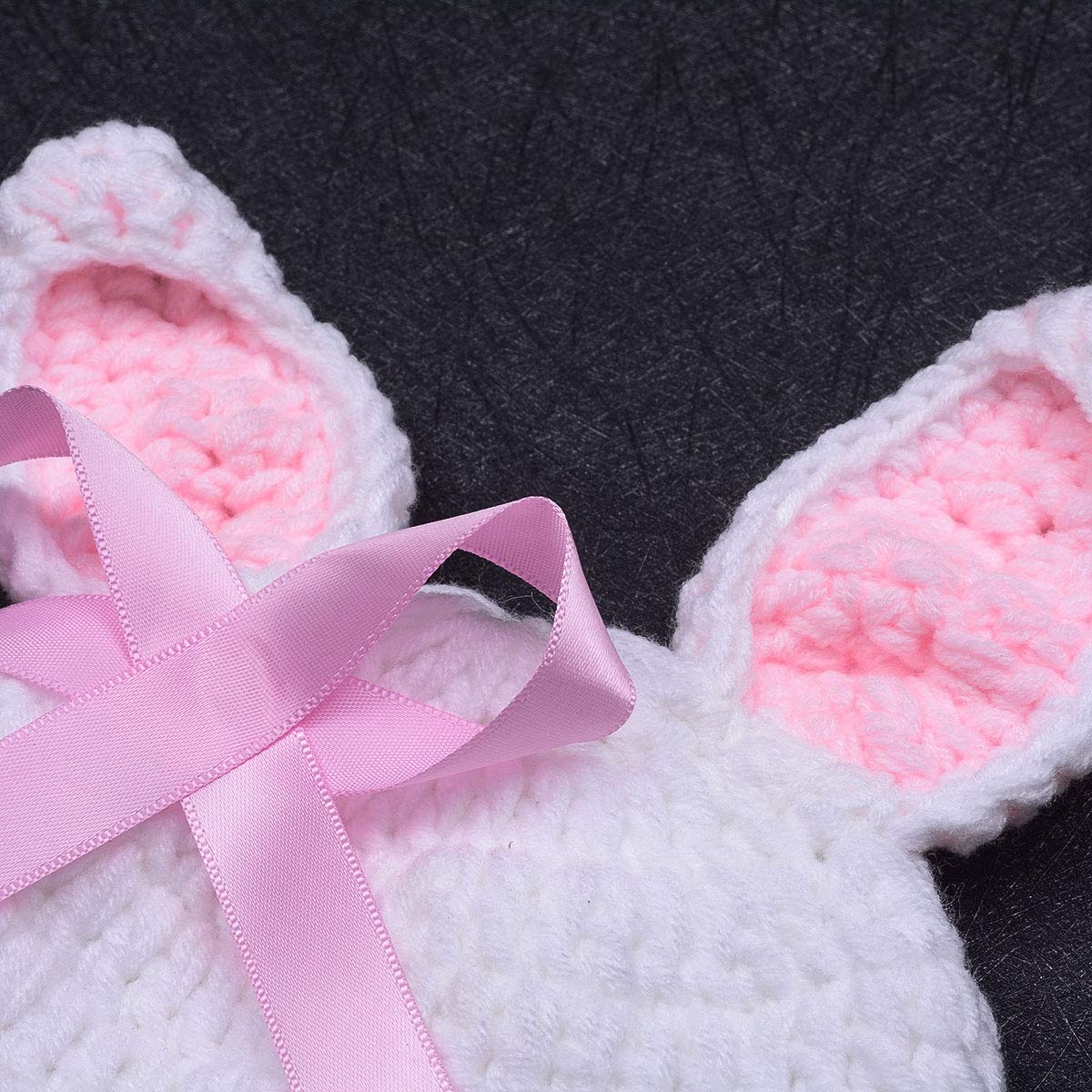 ISOCUTE Newborn Photography Props Baby Girl Easter Bunny Crochet Knitted Rabbit Set by ISOCUTE (Image #4)