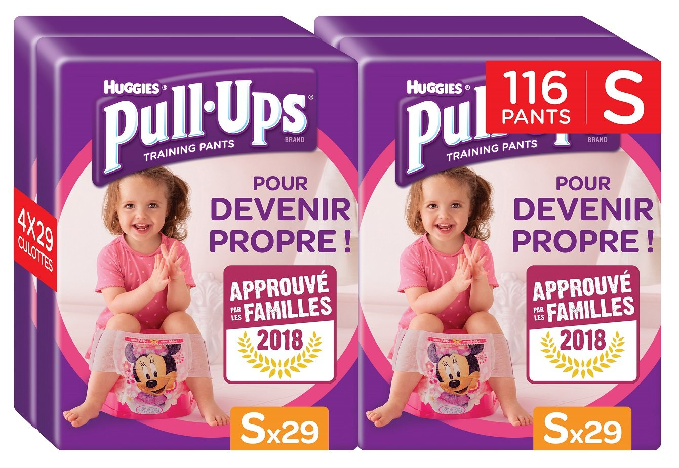 Huggies Pull-Ups Fille Taille 4/Small (8-15 kg), Couche-culotte d'Apprentissage de la Propreté Disn 5029053525952
