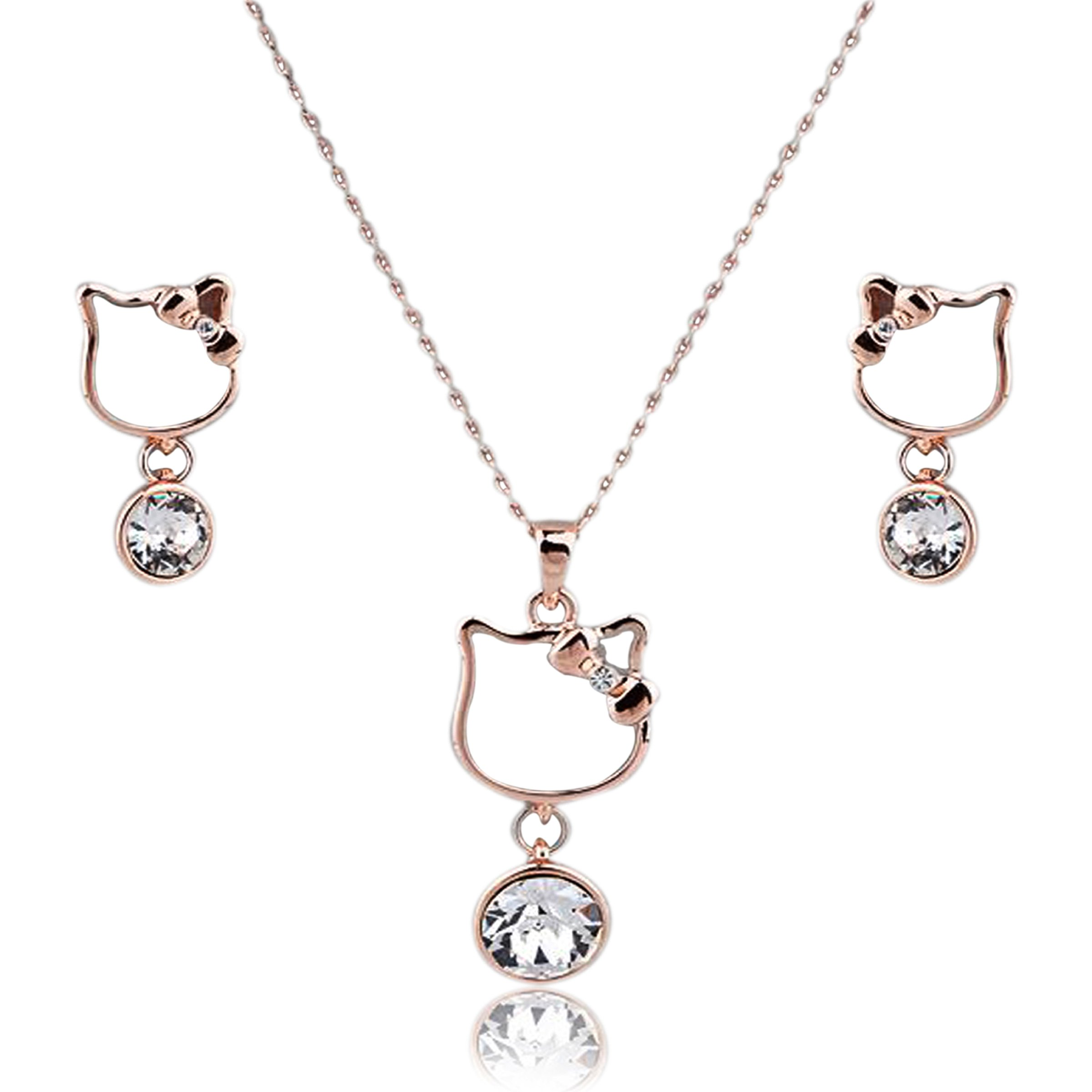 Mall of Style Hello Kitty Necklace Earrings Jewelry Set in Rose Gold