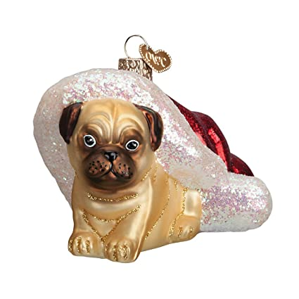 old world christmas holiday pug puppy glass blown ornament