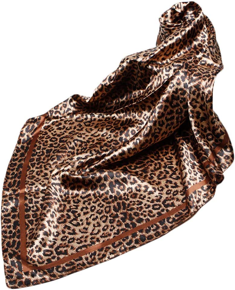 Vintage Stampa Leopardata Sciarpa Etnica da Donna in Finta Seta Quadrata Elegante Fazzoletto da Collo su Entrambi i Lati Coffee JAGETRADE