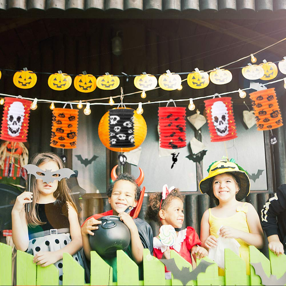 Biubee 6 Pcs Halloween Decorations Paper Lanterns Different Style Light Lamps for for Halloween Party Supplies Halloween Party Favor