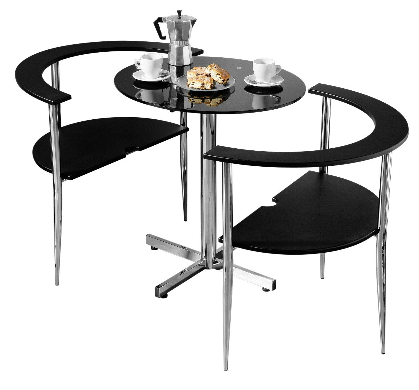 Premier Housewares Love Dining Table and Chair Set Round Shaped with Black Tempered Glass Top and Chrome Legs 75 x 80 x 94 cm 3 Pieces Amazon.co.uk ...  sc 1 st  Amazon UK & Premier Housewares Love Dining Table and Chair Set Round Shaped ...