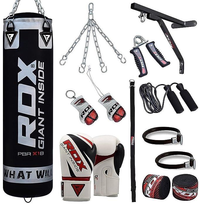 RDX Saco de Boxeo Relleno MMA Muay Thai Kick Boxing Artes Marciales con Soporte Pared Cadena Guantes 17 PC 4FT 5FT Punching Bag: Amazon.es: Deportes y aire ...