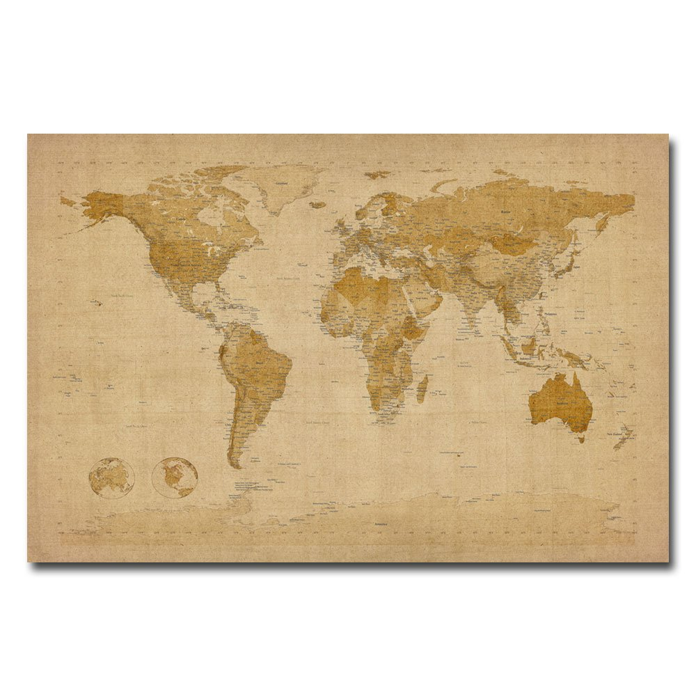 Amazon.com: Trademark Fine Art Antique World Map by Michael Tompsett ...