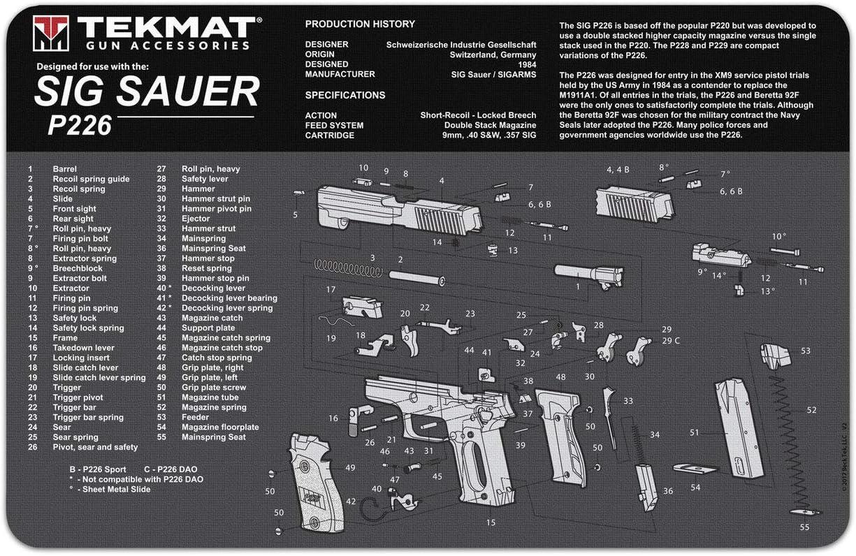 TekMat Tapete para Limpieza con Despiece Sig Sauer P226-43x28cm