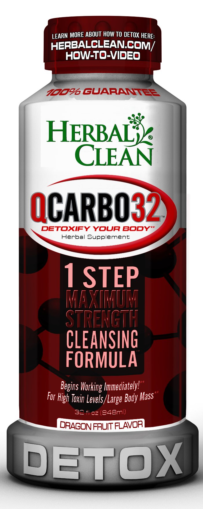 Qcarbo32 by Herbal Clean, Same Day Detox, Herbal Supplement, Detoxify Your Body The Very Same Day - New Flavor Dragon Fruit by Herbal Clean