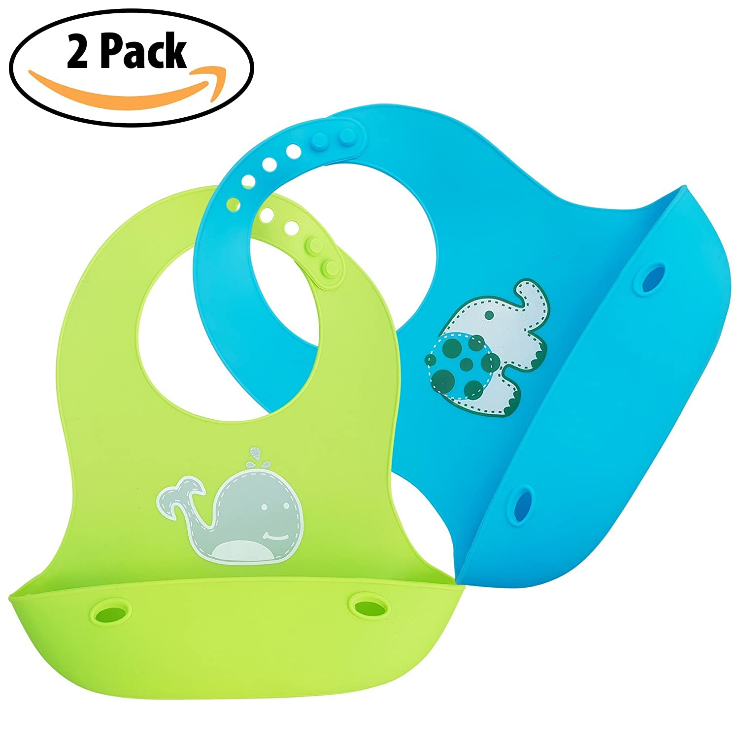 EASY TO CLEAN 2 PACK SILKY SOFT /& COMFORTABLE WEESPROUT SILCONE BABY BIBS