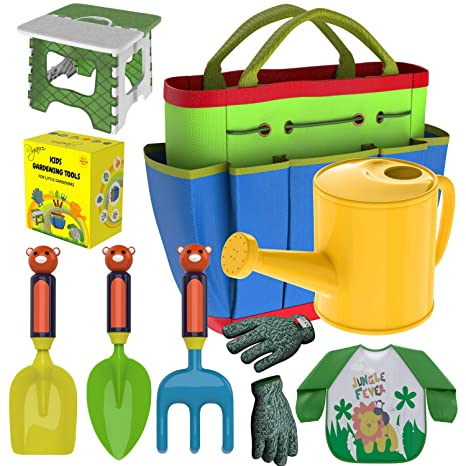 Kids Gardening Tools Outdoor Toys Set   Garden Gloves   Smock Apron    Foldable Work Bench