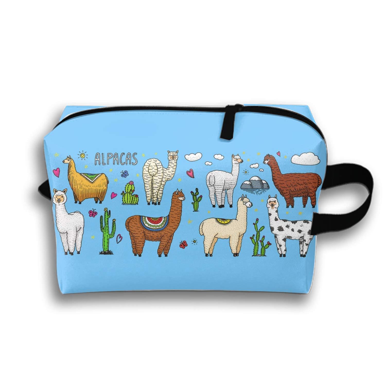 4594370aba2a Amazon.com: Travel Makeup Bag Case for Women Set of Cute Alpaca ...