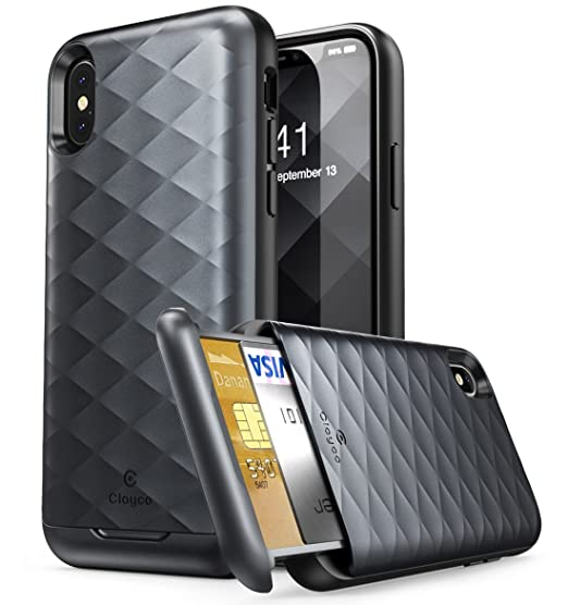 quality design 21ef2 b3500 iPhone X Wallet Case, Clayco [Argos Series] Premium Hybrid Protective  Wallet Case Credit Card Slot Holder for Apple iPhone X 2017 (Black)