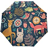 WOZO Vintage Floral Print Fox Deer Bird Rabbit 3 Folds Auto Open Close Umbrella