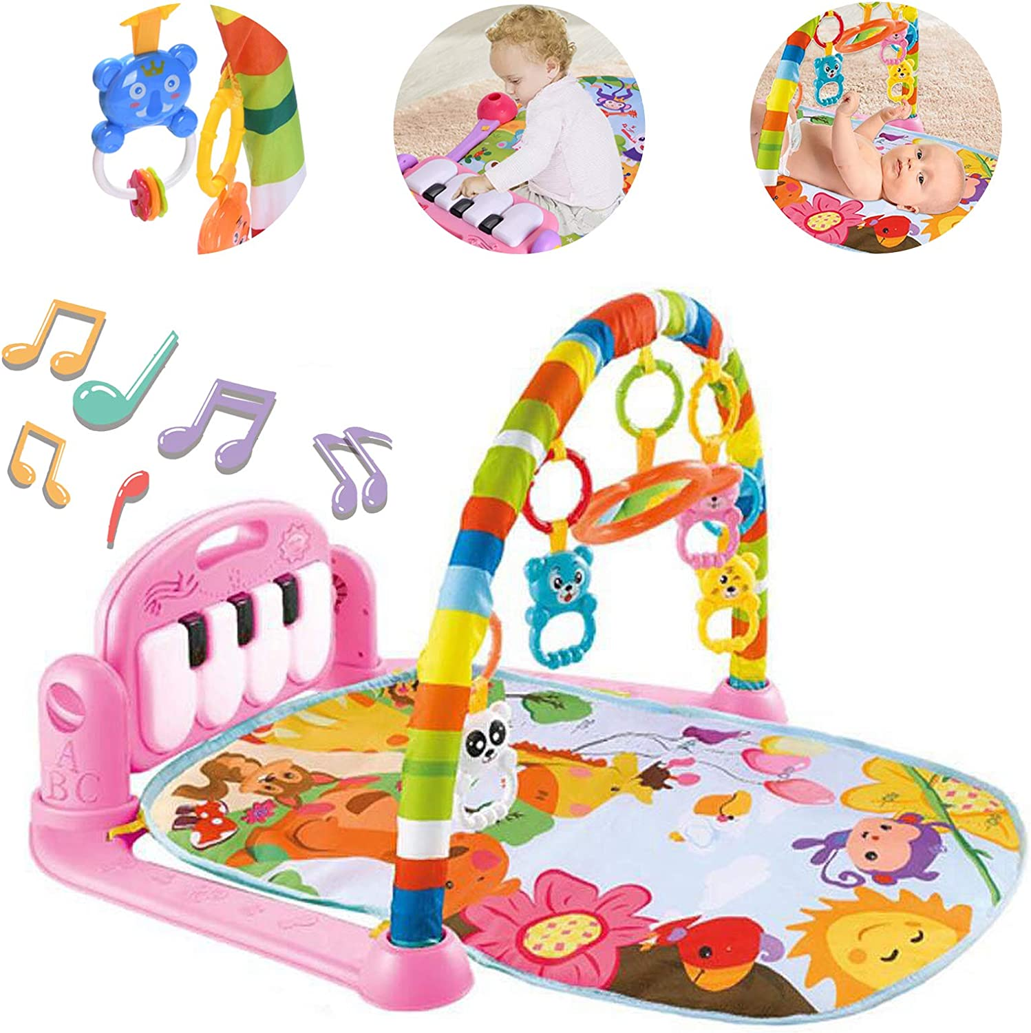 Baby Play Mat Activity Gym with Kick Piano Keyboard, Baby Jungle Gym Mat Designed with Colorful and Detachable Baby Toys in Activity Center for Tummy Time Boys and Girls Aged 0 to 3 to 12 Months