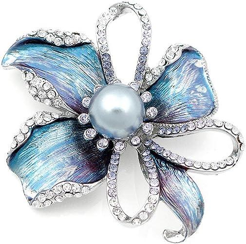 Glamorousky Broche De Flor Con austriaco Plata Cristal Elemento Y Gris Perla De La Moda