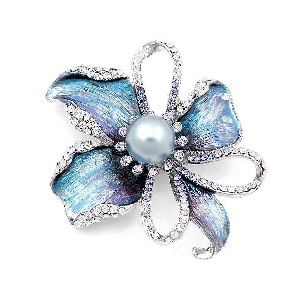Glamorousky Flower Brooch with Silver Austrian Element Crystal and Grey Fashion Pearl (4668) Glamorousky Jewelry Glamorousky-1000004668