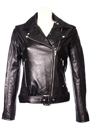 157d2e9f8f3 Ladies CHELSEA (1122) Black Real Lambskin Leather Jacket: Amazon.co.uk:  Clothing