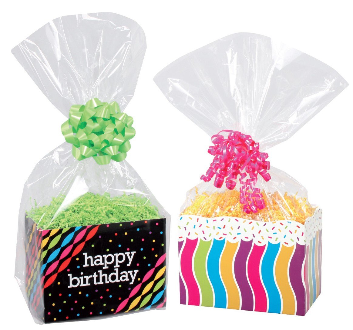 Amazon.com: Clear Cello Basket Cellophane Bags - Gift Package Flat ...