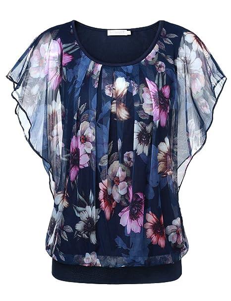 Blusa estampada con cuello redondo y mangas abiertas. Opción de varios colores.