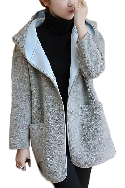 lana Casual abrigo Amazon es abrigos con capucha mujer la de Ropa ZPUHxq7wP