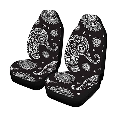 InterestPrint Vintage Ethnic Elephant Auto Seat Covers Full Set Of 2 Car Front Cushion