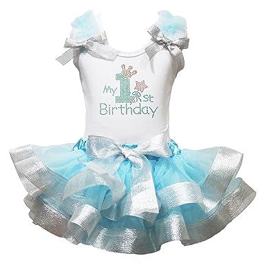 Rhinestone My 1st Birthday Dress White Shirt Blue Silver Petal Skirt Outfit 0 2y