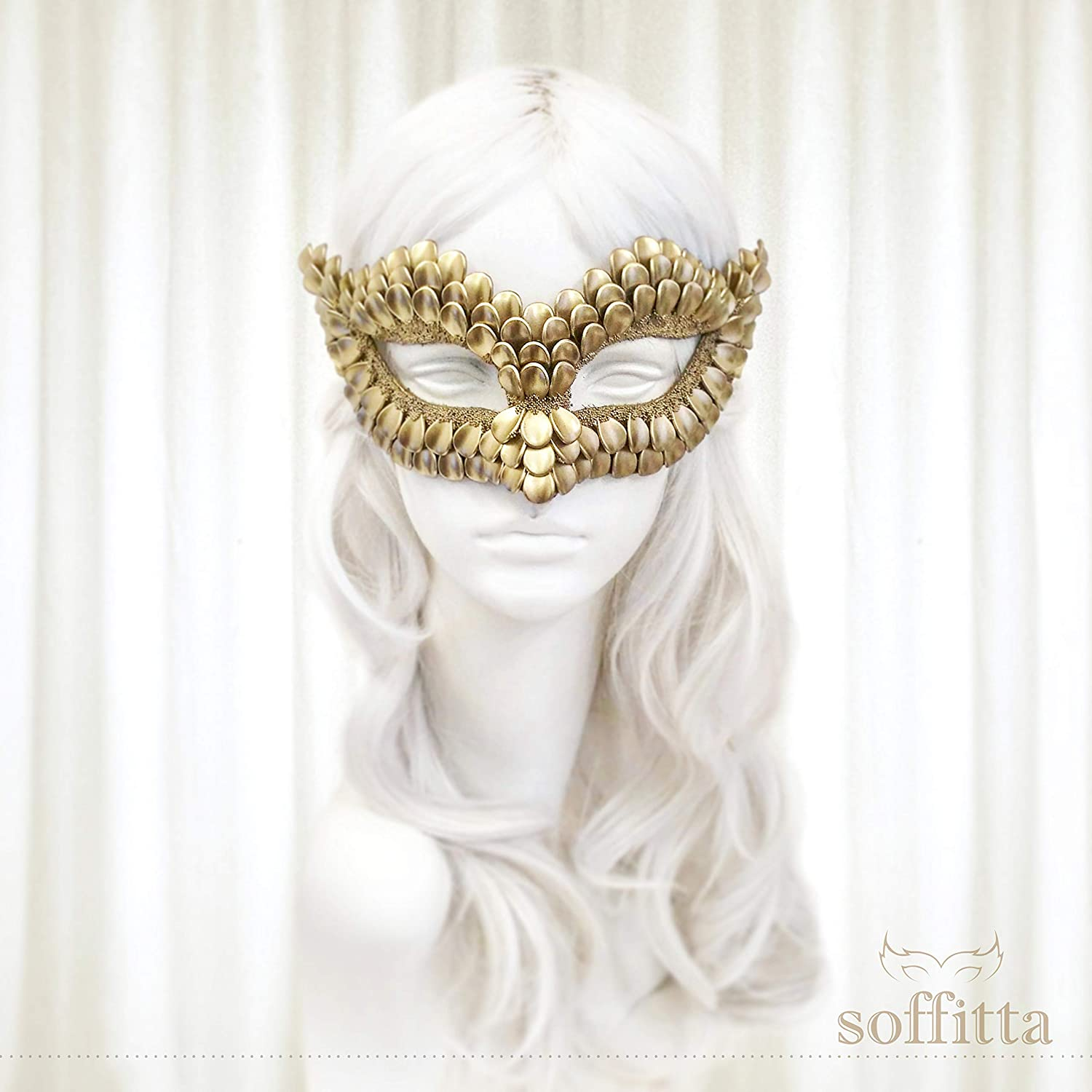 Gold Masquerade Mask With Dragon Scales