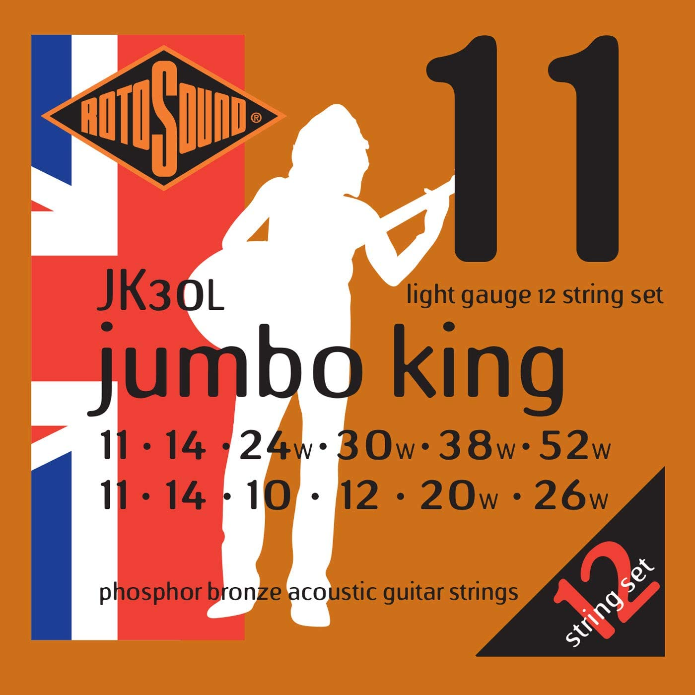 Rotosound JK30L - Juego de cuerdas para guitarra acústica de fósforo/bronce, 11-11, 14-14, 24-10, 30-12