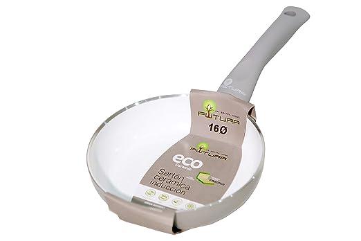 La Bolata Sartén de 16 cm con Recubrimiento cerámico para inducción, Aluminio, Gris y Blanco