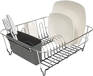 Sweet Home Collection 2 Piece Dish Drying Rack Set Drainer with Utensil Holder Simple Easy to Use Fits in Most Sinks, 12