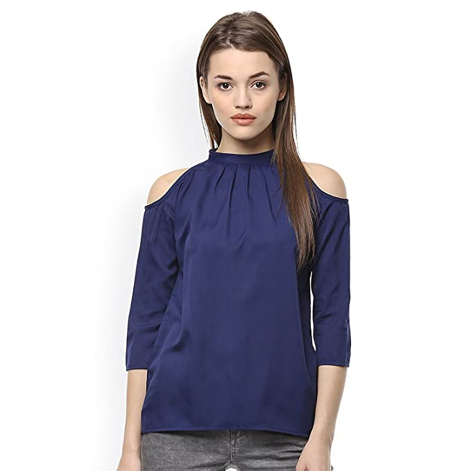 ab1bf42f64845 Cozami Women s Solid Navy Blue Cold Shoulder Neck 3 4 Sleeves Tops (Navy  Blue
