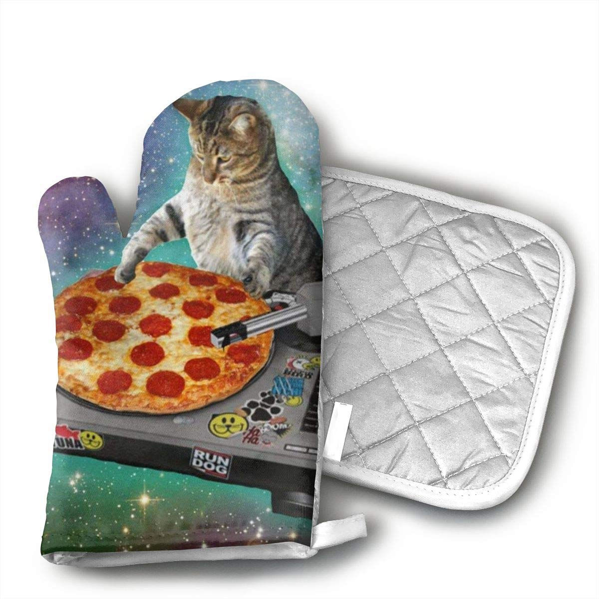 Wiqo9 Space Cat Pizza Oven Mitts and Pot Holders Kitchen Mitten Cooking Gloves,Cooking, Baking, BBQ.