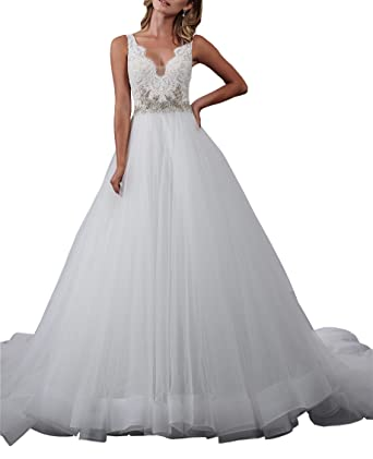 Lace Tulle Womens Wedding Dresses Guest Beaded Crystal V Neck V Open
