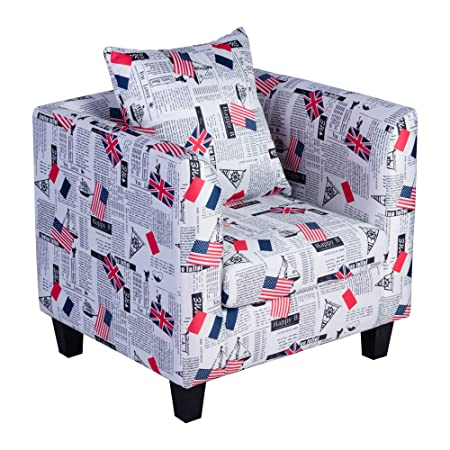 Irene House Club Chair Tub Linen Fabric Armchair Seat Accent Living Room The Stars and Stripes