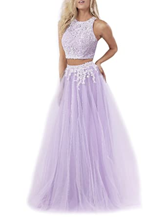 PLMS Womens Two Piece Tulle Prom Dresses Lace Appliqued Evening Formal Gown Lilac 2