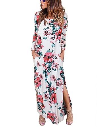 60995a335c ISASSY Women s Floral Print V-Neck Summer Dress Spaghetti Strap Button Down  Swing Midi Dress